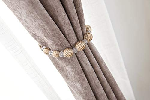 HSYLYM Curtain Tiebacks Beaded Hook Light-Weight Durable,Tiebacks /& Holdbacks for Curtains,Pack of 2,Champagne