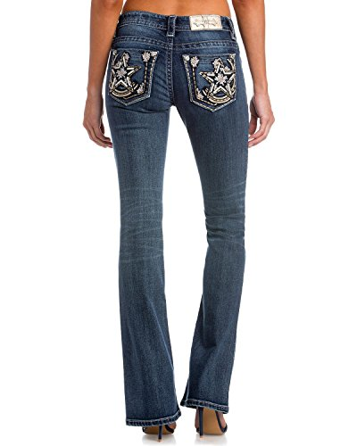 Miss Me Junior's Mid-Rise Stretch Boot Cut Jeans with Star Back Pockets, Dark Blue, 26 - Miss Me Leather Jeans