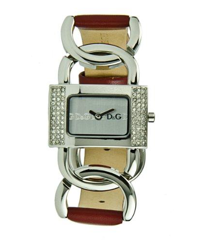 D&G Dolce&Gabbana DW0565 – Reloj analógico de mujer de cuarzo con correa de piel roja – sumergible a 30 metros