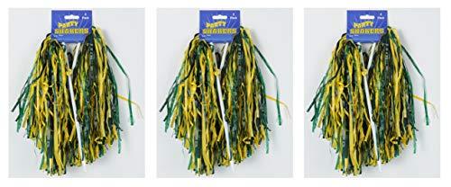 Beistle 66301GYKG 6Piece Golden Yellow & Kelly green Poly Shakers, Golden Yellow/Kelly Green (Golden Yellow Green)