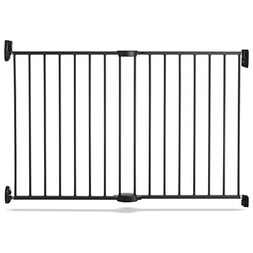 Push to Close Hardware Baby Gate, Extends 28.5″ to 45″ Wide, Dark Grey, Model MK0001 Review
