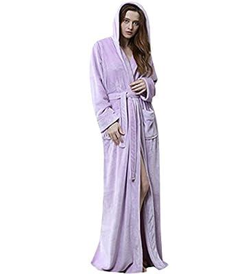 Jepaja Hooded Long Women's Bathrobe Warm Soft Flannel Robe Pajamas