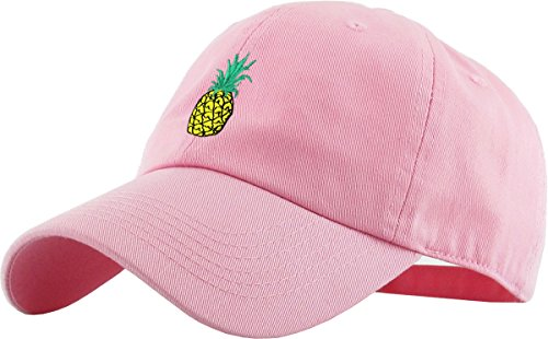 KBSV-021 PNK Pineapple Dad Hat Baseball Cap Polo Style Adjustable - Adjustable Pink Hat