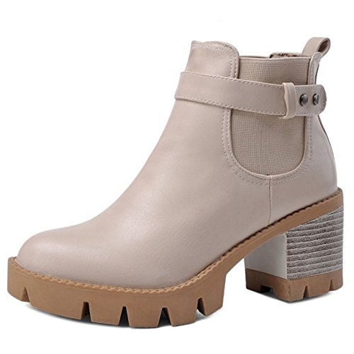 Heel Chelsea On Chunky Pull Women Boots COOLCEPT Beige Low Fashion vfwAxT4nqU