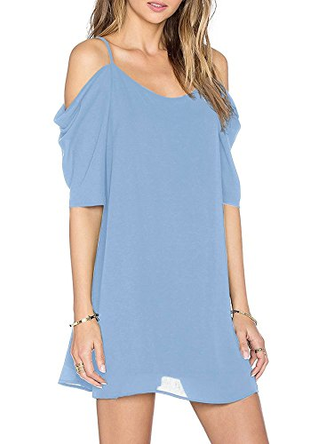 Blue Chiffon (Angelady Women Sexy Cut Out Cold Shoulder Adjustable Spaghetti Straps Dress Top)