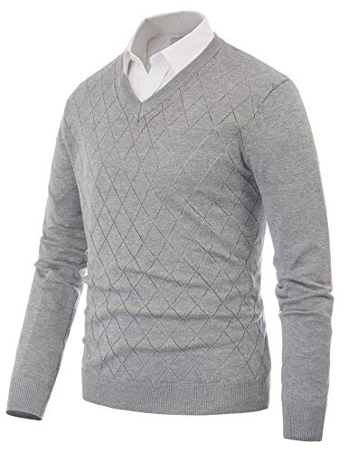 Mens Novelty Tops Slim Fit V Neck Soft Knitted Pullover Sweater (2XL, Gray)