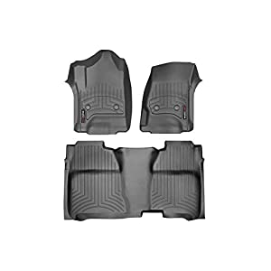 2015-2016 Chevrolet Silverado Crew Cab WeatherTech Front and Rear Floor Mat / Liner Set - Black