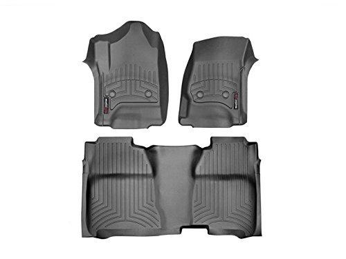 2015-2016 Chevrolet Silverado Crew Cab WeatherTech Front and Rear Floor Mat / Liner Set - Black (Floor 1500 Weathertech Rear)