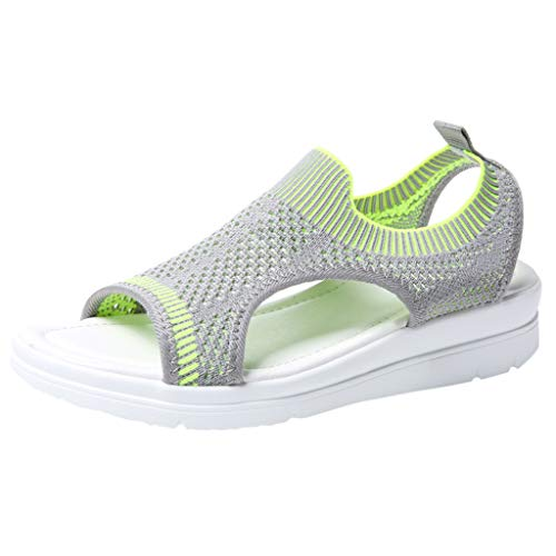 Slip On Walking Shoes,ONLY TOP Women's Mesh Breathable Sandals Lace-Up Running Open Toe Sneakers Light Green