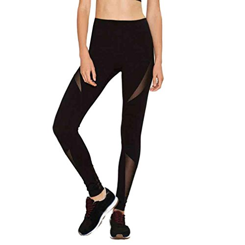 HARRYSTORE Mujer Pantalones elásticos y deportivos de yoga y flacos de flexiones Polainas de la cintura de malla fitness femenino Negro