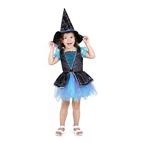 Girls Witch Costume Glamour Queen Kids Halloween Dress Deluxe Set -Blue(2-4 -