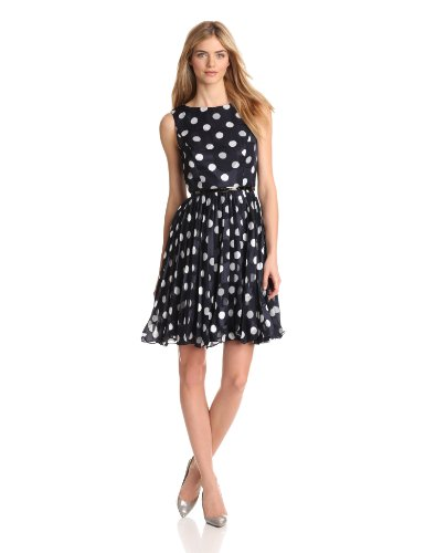 Adrianna Papell Women's Pleated Burn Out Dot Dress, Navy, (Adrianna Papell Polka Dot Dress)