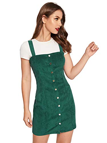 Floerns Women's Cute Strap Button up Corduroy Overall Sheath Pinafore Dress Green L ()