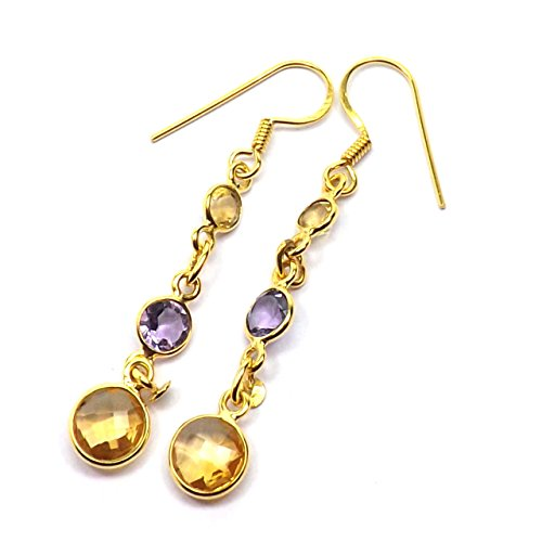 Sitara Collections SC10437 Gold-Plated Sterling Silver Earrings, Citrine and Amethyst Three-Stone