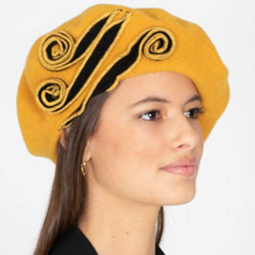 Amazon.com: RACEU ATELIER Mustard Details Wool Beret - Hat Felt Knitted Retro 1920s - Style Nania - Retro Hats - Vintage Caps - Style French: Handmade