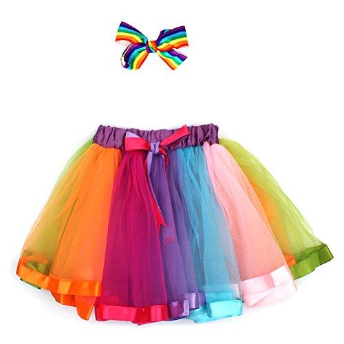 fedio Girls Flully Tulle Rainbow Tutu Skirt Ribbon Pettiskirts Tutu with Hair Bows for Toddler Girls (Medium)