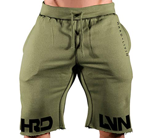 HRD-LVN (Split Leg)-13 (Military Green SweatShorts/Black Art, Medium)