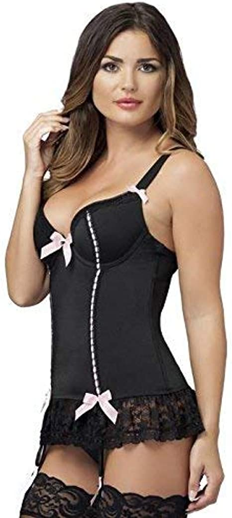 Underwired Moulded Cups /& Matching G-String Lovehoney Lingerie Seduce Me Womens Black Lace Plus Size Push Up Basque Set