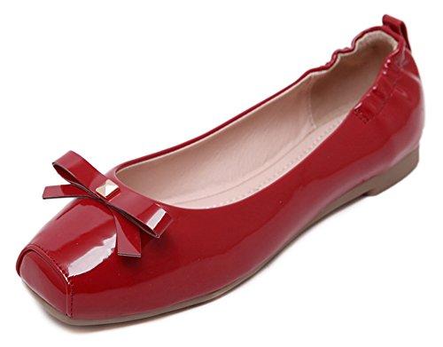 Sfnld Donna Casual A Punta Squadrata Slip On Slip Ballerine Con Fiocco Rosso
