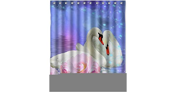 Amazon Cool Design Swan Shower Curtain 60w X 72h Generic Liners Home Kitchen