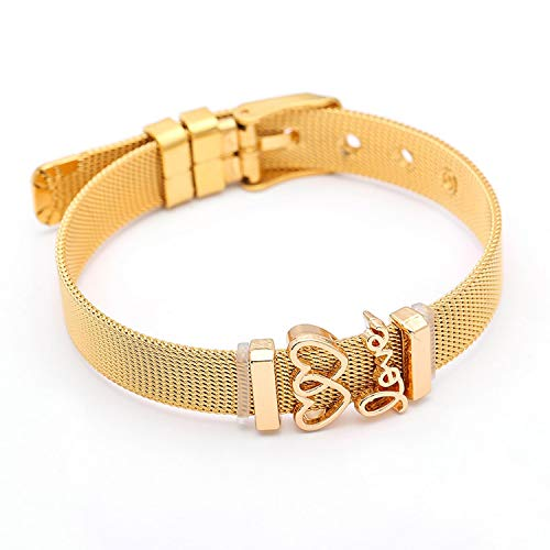 Only Shopping Can Heal Me Boosbiy 2019 Fashion DIY Jewelry Gifts Stainless Steel Mesh Keeper Bracelets for Women Charms Brand Bracelets,Gold5 ()