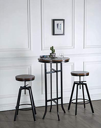 JOELGIUM Adjustable Height Swivel Bar Stools - Counter Height - Set of 2 - Solid Wood Seat - Metal Base - for Kitchen,Bistro,Coffee,Pub