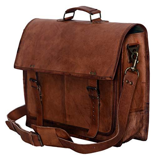 - PL 18 Inch Vintage Handmade Leather Messenger Bag for Laptop Briefcase Satchel Bag