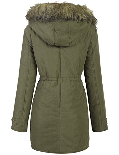 Meaneor Womens Hooded Warm Winter Faux Fur Lined Parkas Long Coats (Army Green, Medium)