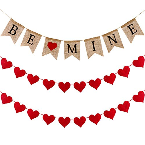 Tatuo Valentine's Day Banner Be Mine Burlap Banner and 2 Pieces Red Heart-Shaped Garland for Wedding Party Proposing Decorations