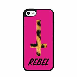 Leopard Rebel on Pink Background - Plastic Phone Case Back Cover (iPhone 5/5s)