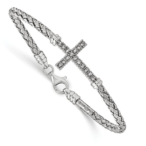 ICE CARATS 925 Sterling Silver Cubic Zirconia Cz Italian Cross Religious Bangle Bracelet Cuff Expandable Stackable Fine Jewelry Ideal Mothers Day Gifts For Mom Women Gift Set From Heart by ICE CARATS