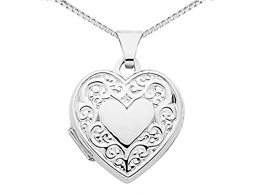 Heart Locket in 14K White Gold with Chain