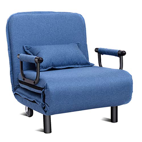 Giantex 26.5″ Convertible Sofa Bed Folding Arm Chair Sleeper Leisure Recliner Lounge Couch (Blue)