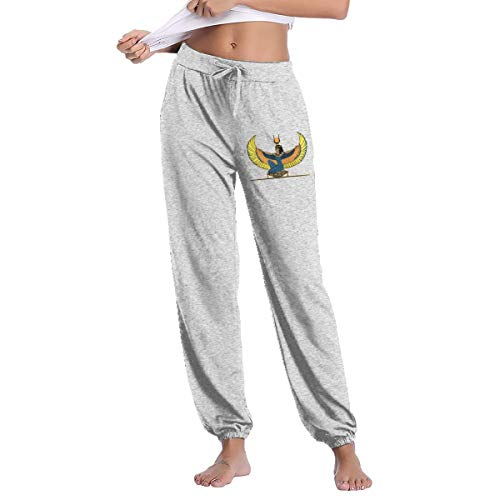 Women's Egyptian Goddess Isis Sweatpants with Pockets Soft Drawstring Gray - Womens Capris Isis