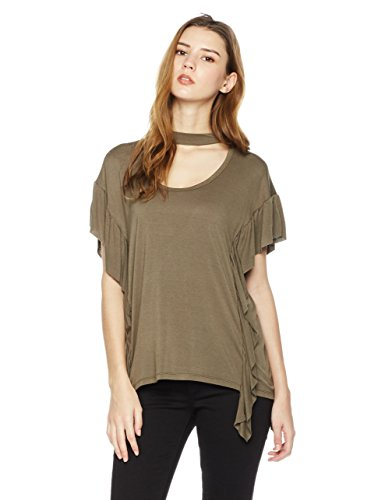 Rebel Canyon Women's Young Short Sleeve Jersey Mock Neck Top With Princess Seam Ruffle Detail X-Small (Ruffle Detail Blouse)