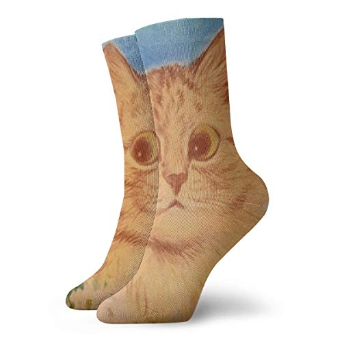 SARA NELL Unisex Adult Novelty Funny Crazy Crew Sock Ginger Flower Cat 3D Printed Winter Thick Sport Athletic Socks Personalized Gift Socks