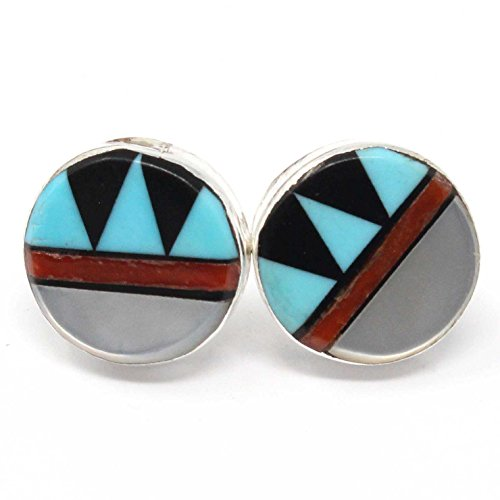 Zuni Multi-Stone Inlay Stud Earrings By Martinez Featuring Turquoise, Coral, and Jet | 1/2
