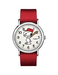 Timex Weekender 38mm Unisex Reloj, Red/Snoopy