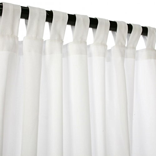Sunbrella Outdoor Curtain Panel, Tab Top, 50 by 120 Inch, Canvas White (Available in Multiple Colors and Sizes) Includes Custom Storage Bag; Perfect For Your Patio, Porch, Gazebo, Pergola, and More