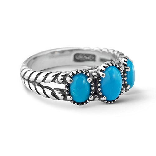 American West Sterling Silver Sleeping Beauty Turquoise Gemstone 3-Stone Friendship Ring Size 9