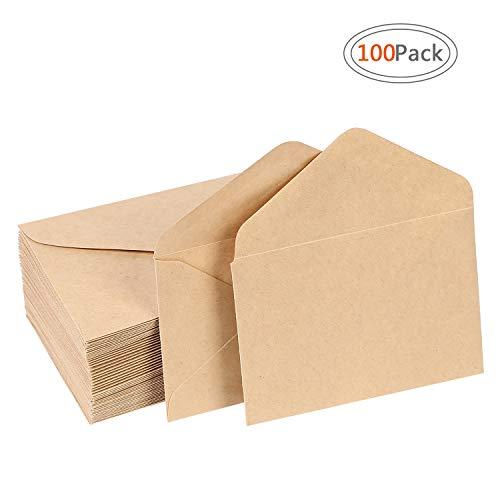 Road Kraft Envelopes Mini Gummed Seal Envelopes for Home Office Supplies, 4.1 x 2.7 inch Brown Kraft Envelopes 100pcs for Wedding, Birthday Party Gift Card Supplies