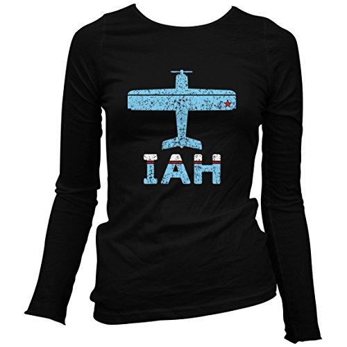 Smash Vintage Women's Fly Houston IAH Airport Long Sleeve T-shirt - Black, - Airport Shops Iah