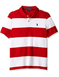 Men's Slim Fit Stripe Short Sleeve Pique Polo Shirt