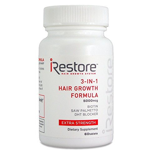 iRestore 3-in-1 Hair Growth Supplement with Biotin, Saw Palmetto, DHT Blocker and Other Extracts for Hair Loss & Thinning Hair - Vitamins for Hair Regrowth, Skin & Nails Health - 60 Count