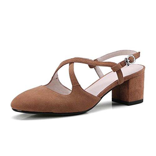 Sandalias de Las Mujeres Sandalias Salvajes de la Manera Sandalias Bajas de la Subida del Color Sólido Negro/Marrón/Rosa/Púrpura Size34-39 (Color : Marrón, Tamaño : 34)