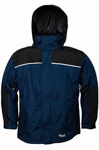 Viking Men's Tempest Classic Waterproof Rain Jacket, Navy Blue/Charcoal, X-Large