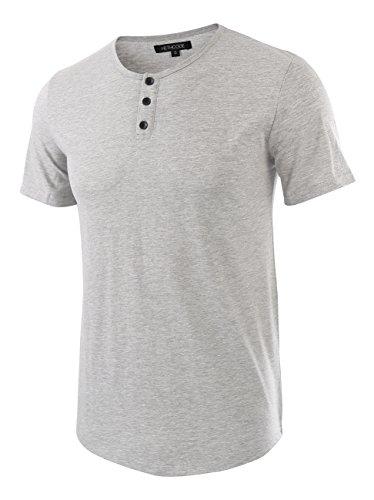 HETHCODE Men's Classic Comfort Soft Regular Fit Short Sleeve Henley T-Shirt Tee Heather Gray XXL