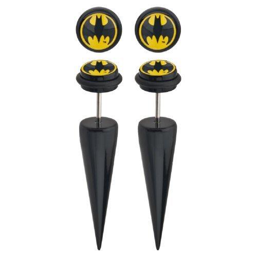 DC+Comics Products : DC Comics Batman Logo Acrylic 18g Faux Taper Earrings, 1 Pair