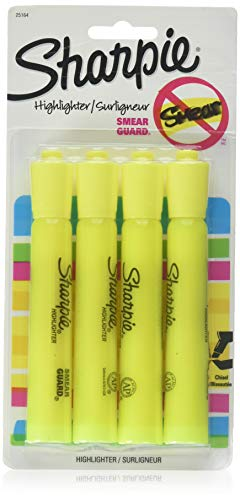 Sharpie Accent Tank Highlighters, Chisel Tip, Fluorescent Yellow, 4-Count (Pack of 2)