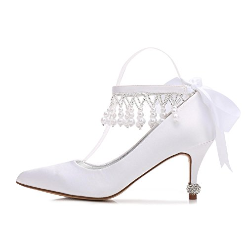 L@YC Womens D17767-32 Ivory Satin & Close Toe Wedding Platform Shoes For Bridal Kitten Heel Shoes Silver r7tE7FH